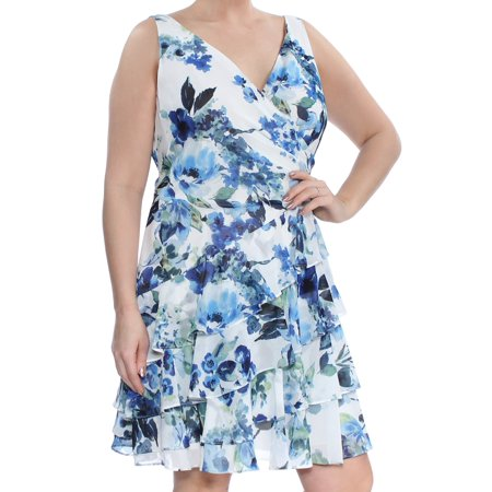 Lauren Ralph Lauren Blue Multi Sleeveless Tiered Ruffled Georgette Floral Dress 12