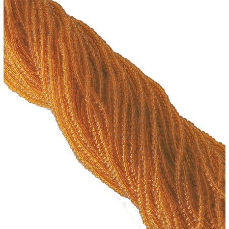 Transparent Glass Beads Strand (Light Orange Transparent Czech 8/0 Glass Seed, Loose Beads, 12 Strand Hank Preciosa )