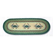 "Earth Rugs OP-359 Blue Crab Oval Patch Runner 13"" x 36"""