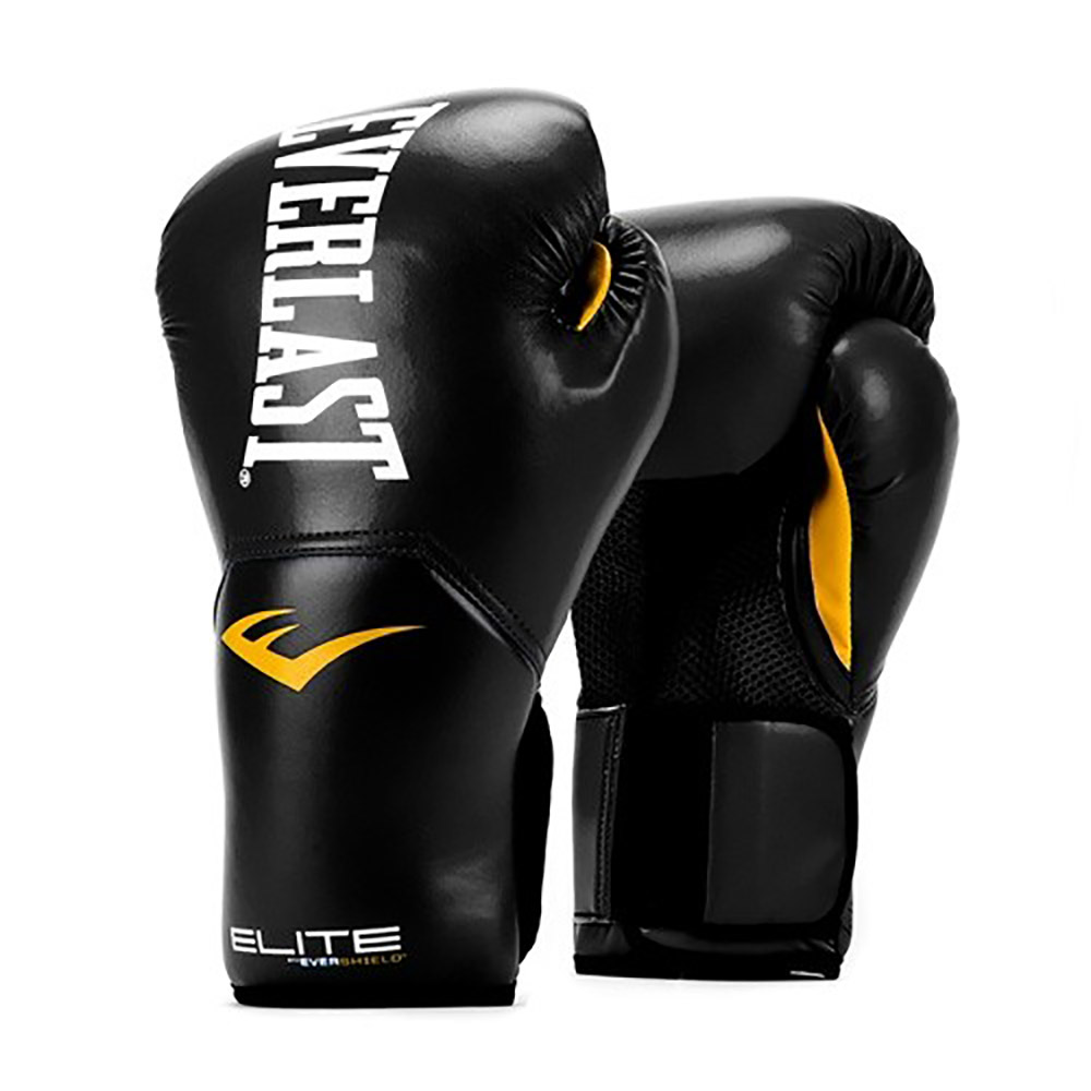 Everlast Elite Pro Style Leather Training Boxing Gloves Size 12 Ounces, Black