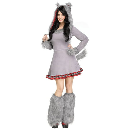 Wolf Cub Wolf Hood Ears Tail Womens Adult Costume Medium/Large - Red Riding Hood And Wolf Couple Costume