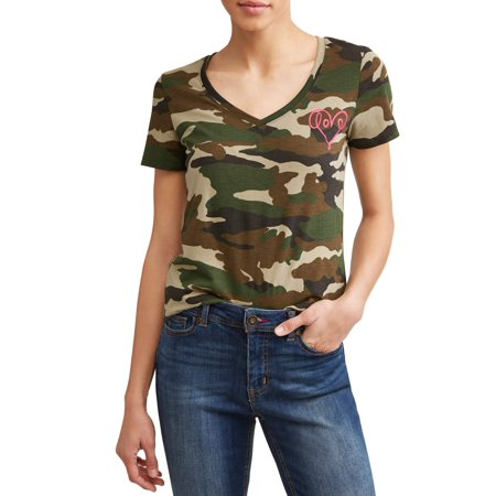 Love Scribble Camo V-Neckline Short Sleeve Graphic Tee - Army Digital Camo T-shirt