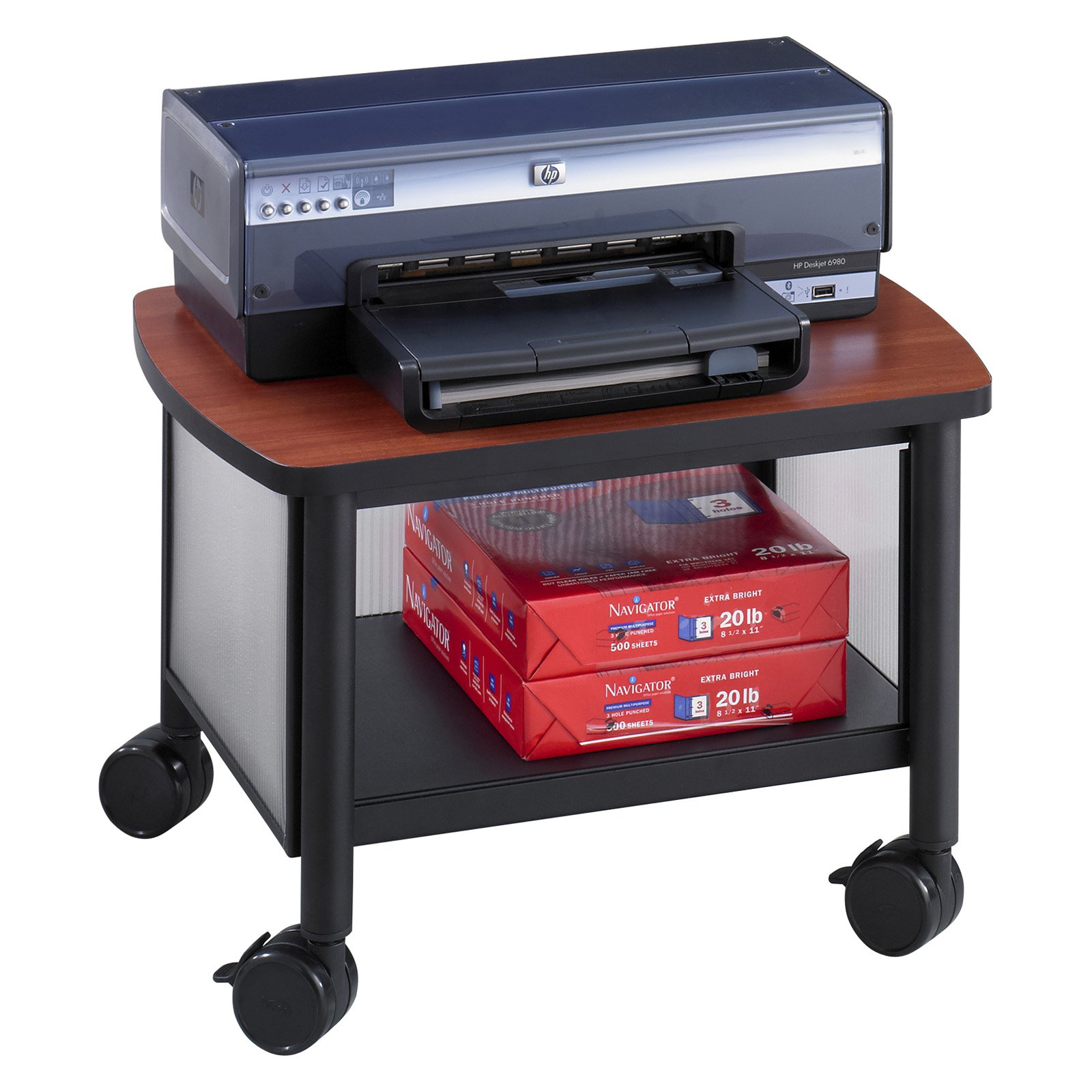 "Safco Impromptu Under Table Printer Stand, 20-1/2"" x 16-1/2"" x 14-1/2"", Black/Cherry"