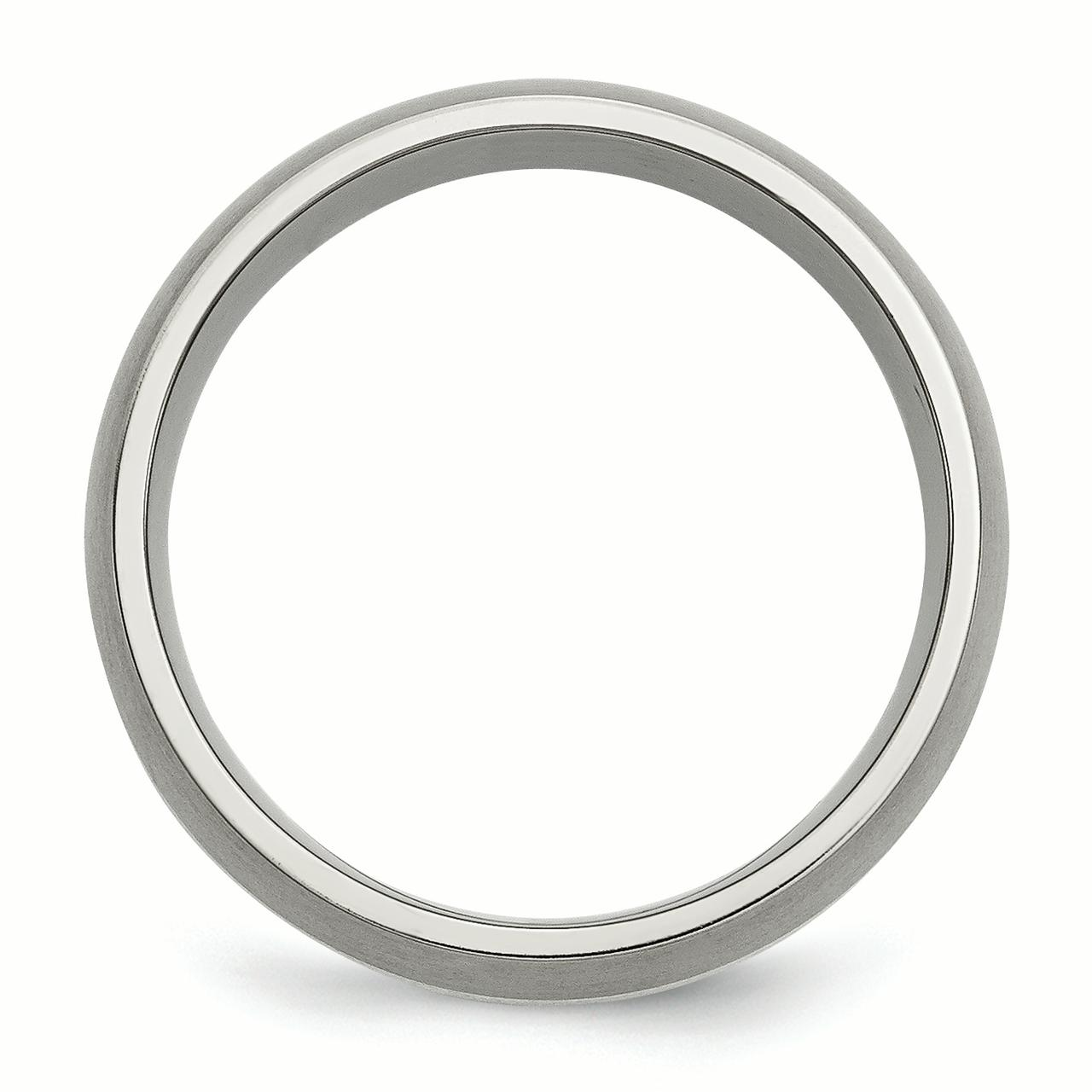 Titanium 925 Sterling Silver Inlay 8mm Brushed Wedding Ring Band Size 7.50 Precious Metal Fine Jewelry Gifts For Women For Her - image 1 of 6