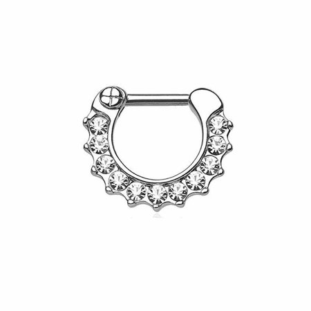 Steel Clear Gem - Body Jewelry Septum Clicker With Clear Gems Surgical Steel 16g 3/8