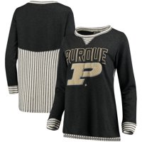 Purdue Boilermakers Women's Striped Panel Oversized Long Sleeve Tri-Blend Tunic Shirt - Heathered Charcoal