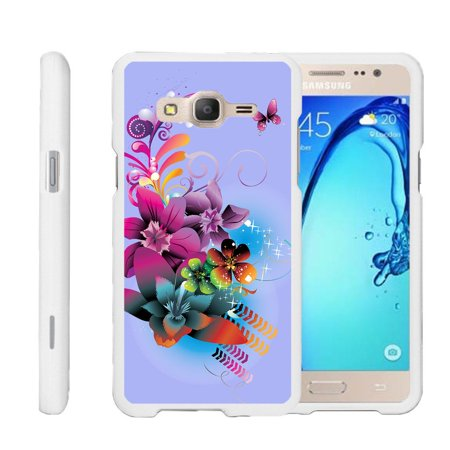 Samsung Galaxy On5 G550, [SNAP SHELL][White] 2 Piece Snap On Rubberized Hard White Plastic Cell Phone Case with Exclusive Art -  Purple Flower Butterfly