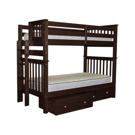 Bedz King Tall Bunk Beds Twin Over Twin Mission Style With
