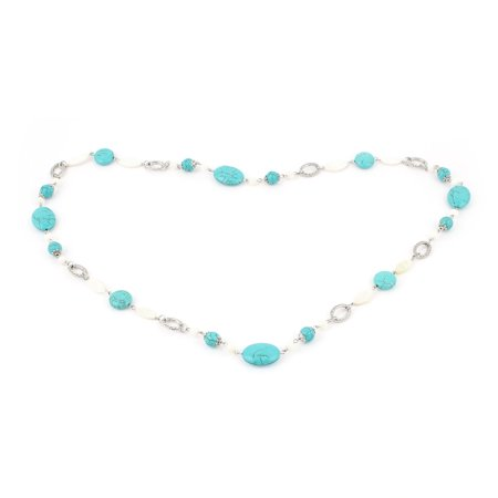 Women Round Oval Beads Detailing Turquoise Stone Necklace Teal White