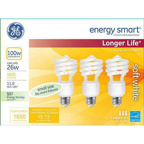 GE energy smartᅡᆴ spiralᅡᆴ CFL 26 watt T2 spiral 3-pack