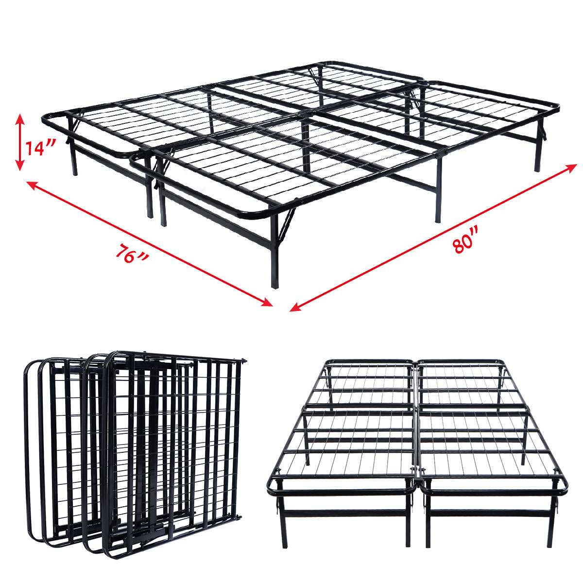 Costway Platform Metal Bed Frame Mattress Foundation 5 Size Box Springs (Queen Size)