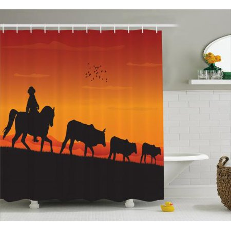 Cattle Shower Curtain Silhouette Farm Theme Cowboy Man Riding Horse Cow Herd In The Ranch