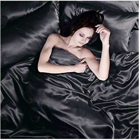 Satin 6 Pcs Silky Sexy Bedding Set Queen Duvet Cover Fitted Sheet & 4x Pillowcases (Black) ()
