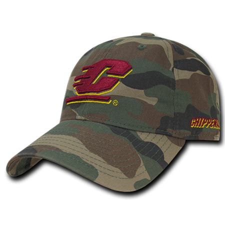 NCAA CMU Central Michigan Chippewas University Relaxed Camo Baseball Caps Hats Central Michigan University Baseball