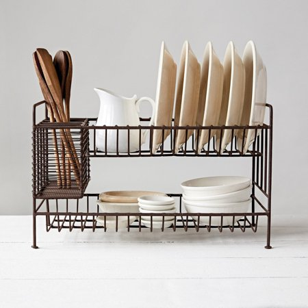 3R Studios 2-Tier Metal Dish Rack with Utensil Compartment