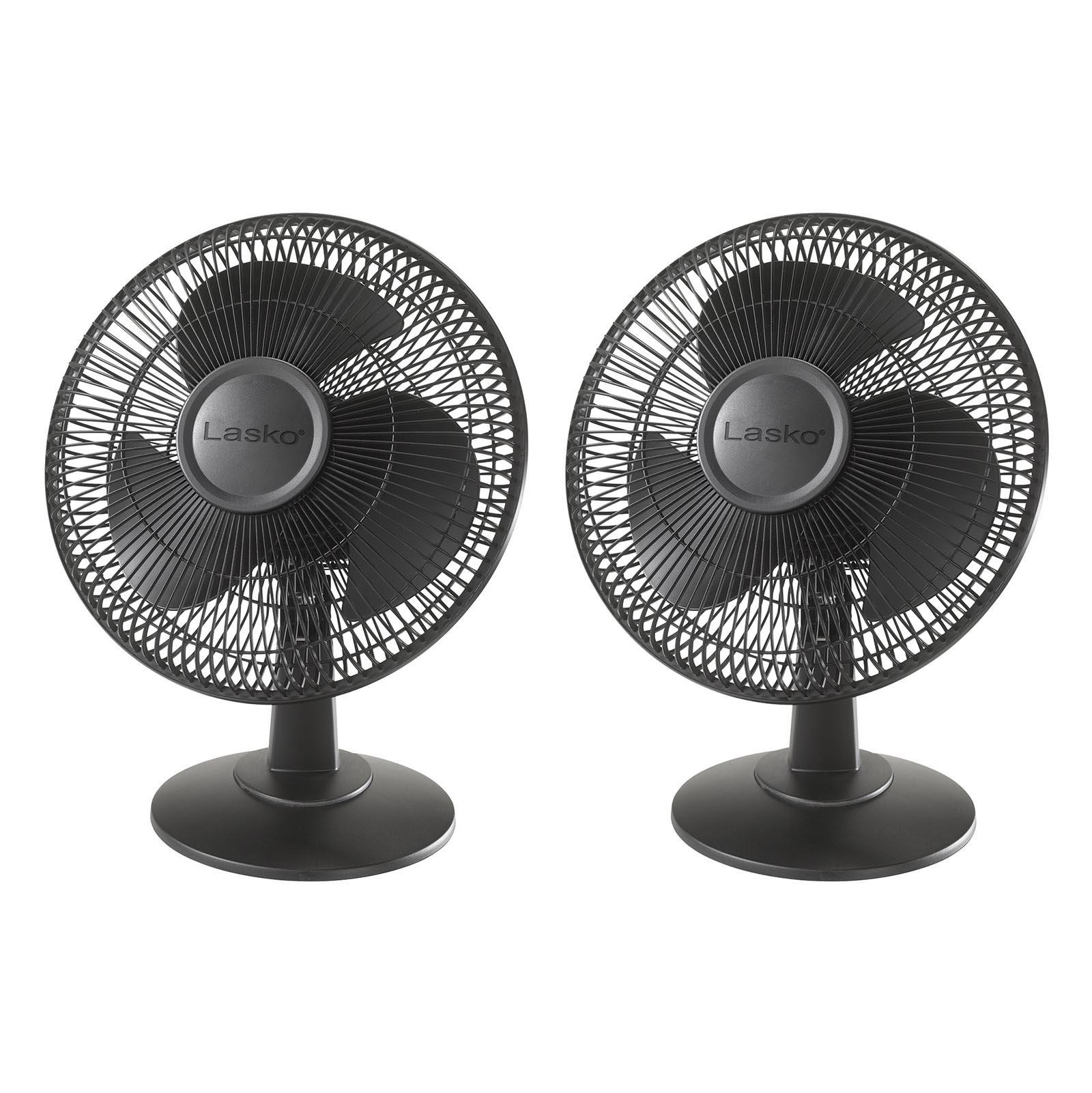 "Lasko 12"" 3 Speed Portable Oscillating Small Floor or Table Fan, Black (2 Pack)"
