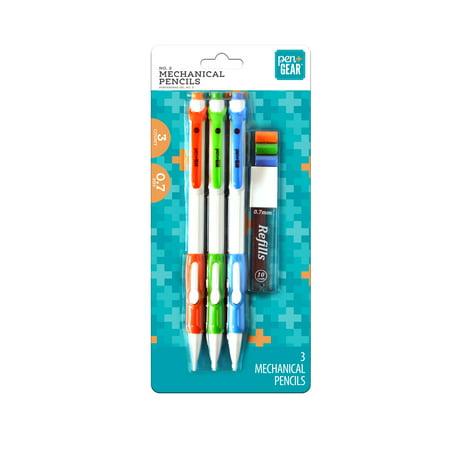 Pen + Gear #2 Mechanical Pencils With Refills, Side Advance, 0.7 mm, 3 Pack