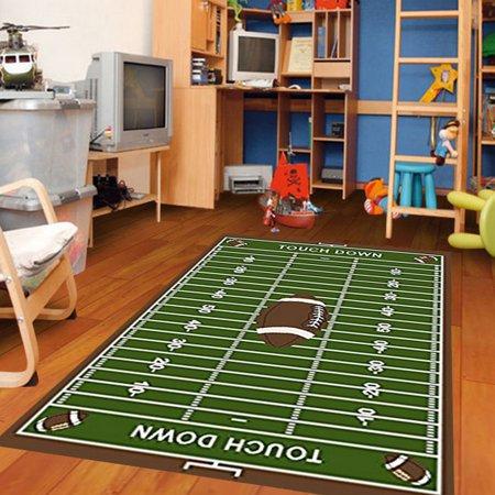 Football Feild Ground Kids Football Rectangle Area Rug Size (Syracuse Football Rug)