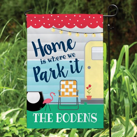 Where We Park It Personalized Outdoor Garden Flag ()