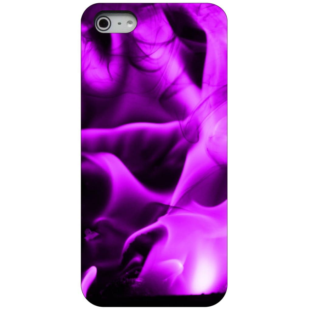 CUSTOM Black Hard Plastic Snap-On Case for Apple iPhone 5 / 5S / SE - Violet Flame Fire