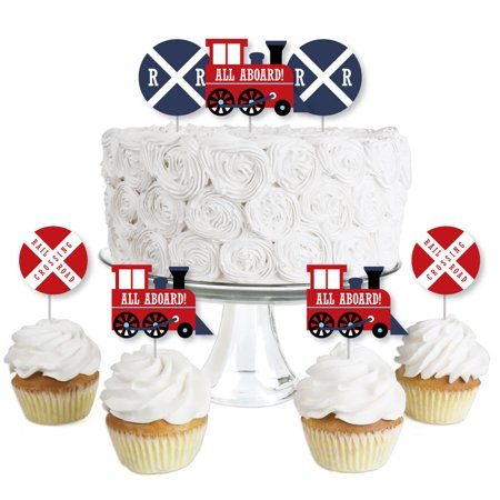Railroad Party Crossing - Dessert Cupcake Toppers - Steam Train Birthday Party or Baby Shower Clear Treat Picks -24 Ct ()