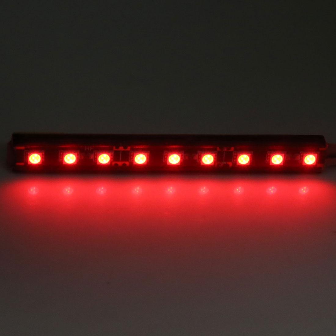 2pcs 9 Red Lights Car Atmosphere Floor Lamp Strip Kit Interior