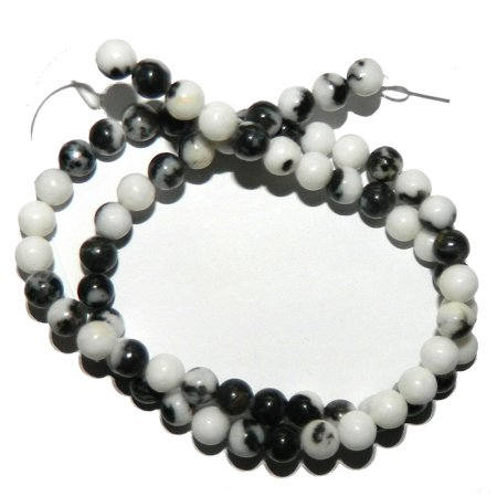 - 4mm Black White Zebra Jasper Natural Round, Loose Beads, 40cm 15 inch Stone