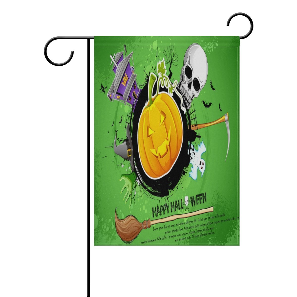 POPCreation Happy Halloween Elements Polyester Garden Flag Outdoor Flag Home Party Garden Decor 28x40 inches