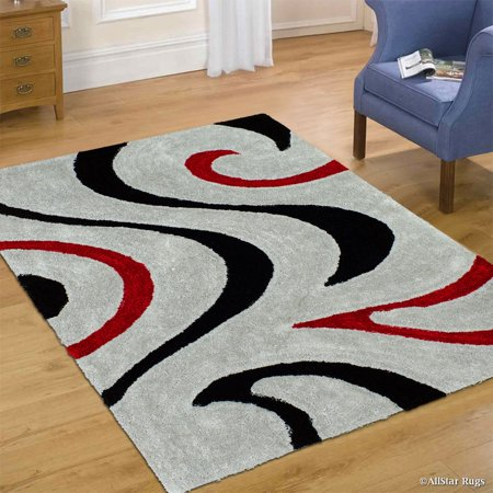 Allstar Grey Shaggy Area Rug With 3d Red And Black Lines