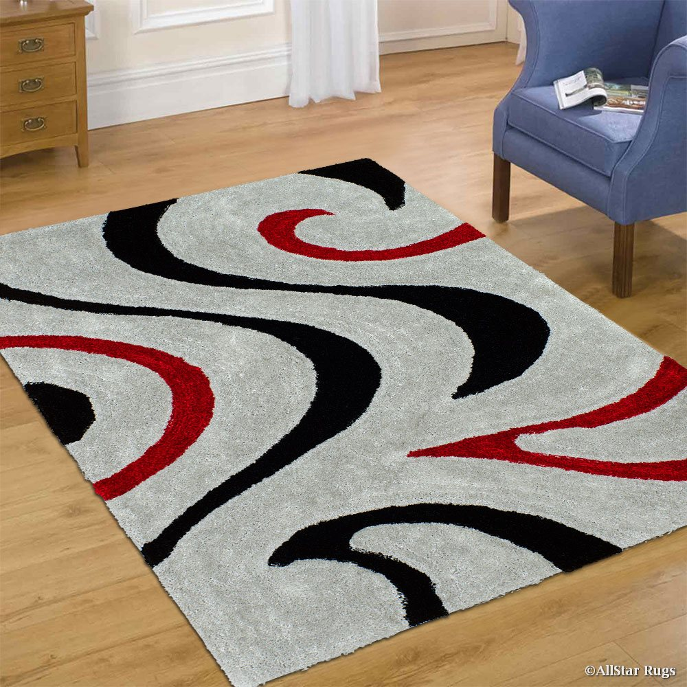 Allstar Grey Shaggy Area Rug with 3D Red and Black Lines Design. Contemporary Formal Hand Tufted (5' x 7')