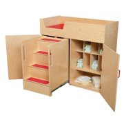 Wood Designs Deluxe Changing Table with Safety Steps - Natural