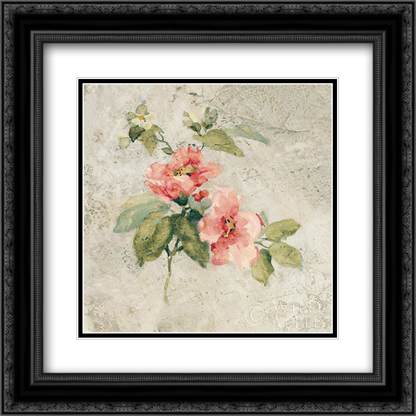 Provence Rose I Red and Neutral 2x Matted 20x20 Black Ornate Framed Art Print by Blum, Cheri