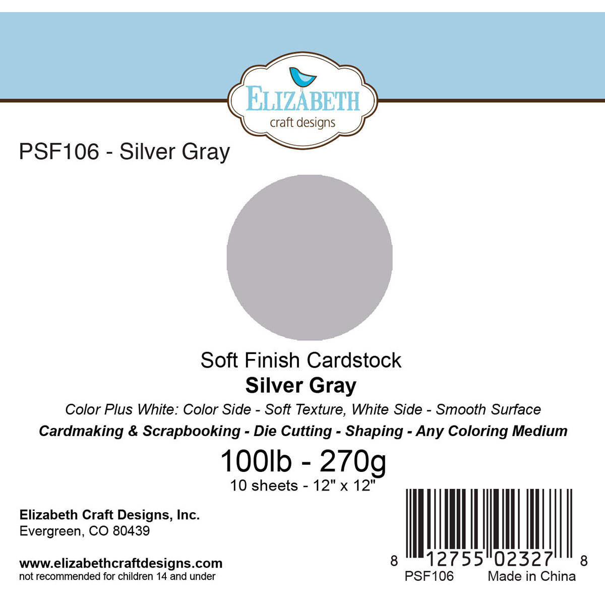 "Soft Finish Cardstock 12""X12"" 10/Pkg-Silver Gray"