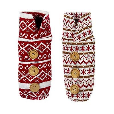 Set of 2 Red Knit Christmas Sweater WINE BOTTLE BAGS with Buttons, by Kurt Adler