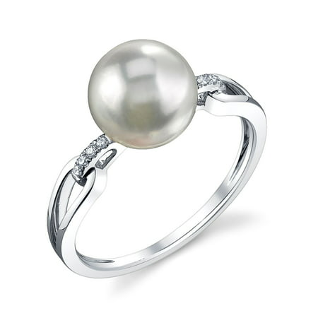 9mm Cultured Pearl Ring (9mm White South Sea Cultured Pearl & Diamond Holly Ring in 14K)