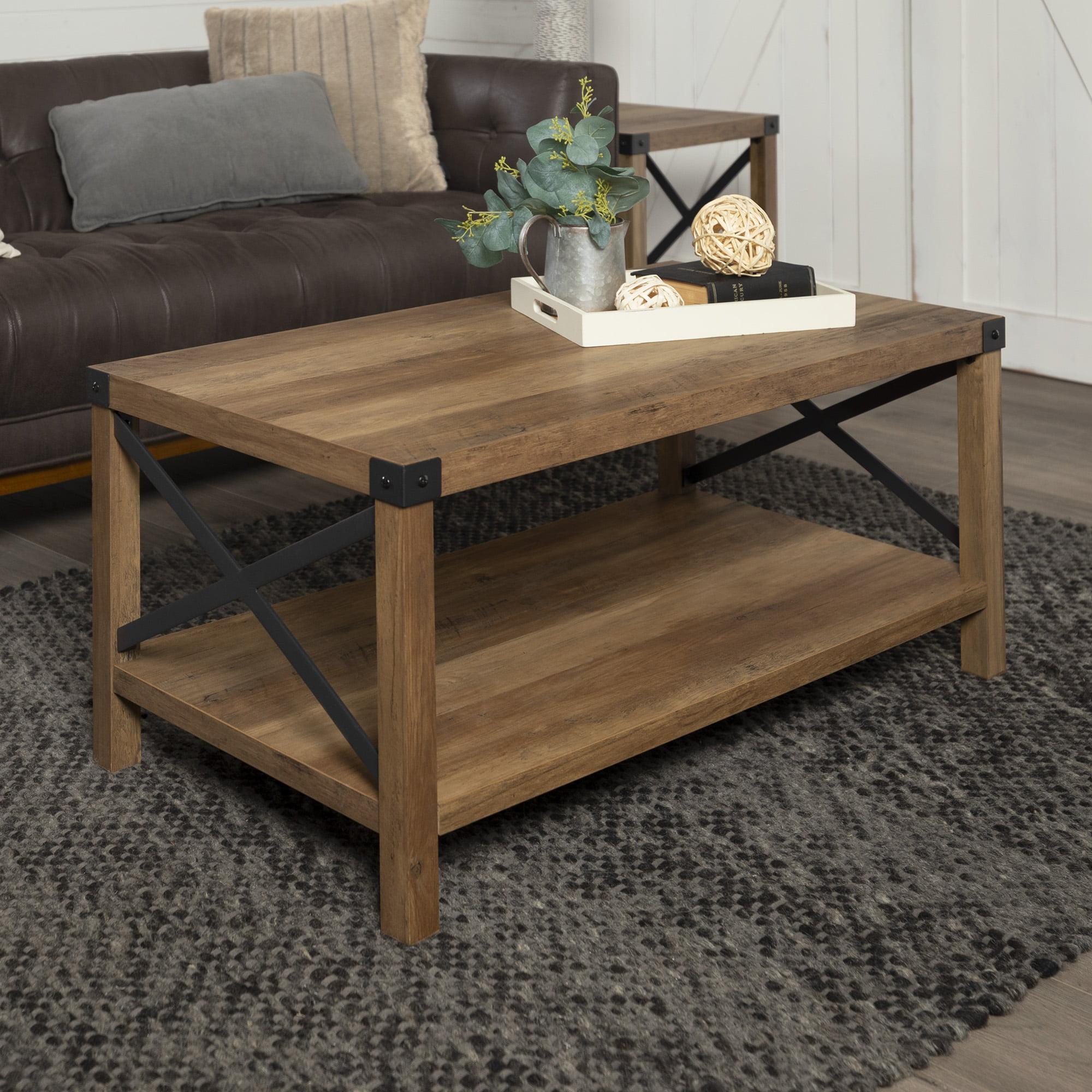 Magnolia Metal X Frame Reclaimed Barnwood Coffee Table By Desert Fields Walmart Com Walmart Com