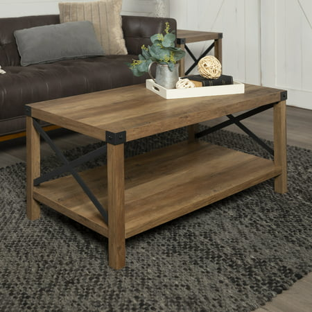 Manor Park Rustic Farmhouse Wood Coffee Table - Rustic Oak Black Rustic Coffee Table