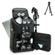 "Digital SLR Camera Backpack w/ 15.6"" Laptop Compartment PLUS Bonus Mini-Tripod by USA Gear features Padded Custom Dividers, Tripod Holder and Storage for DSLR Cameras by Nikon, Canon, Sony & More"
