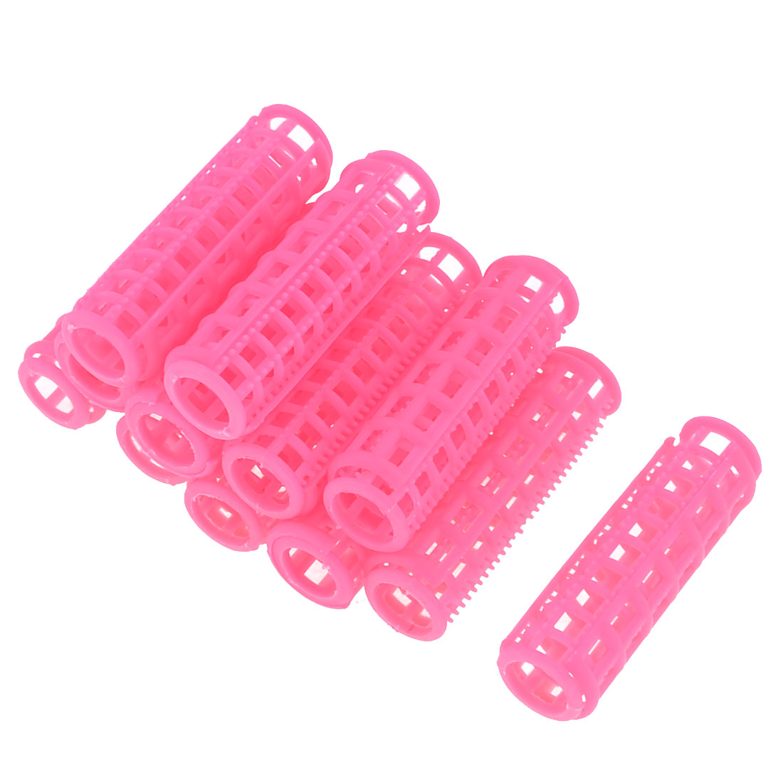 12 Pieces Hair Pink Plastic Cylinder Roller Curlers Clips for Woman