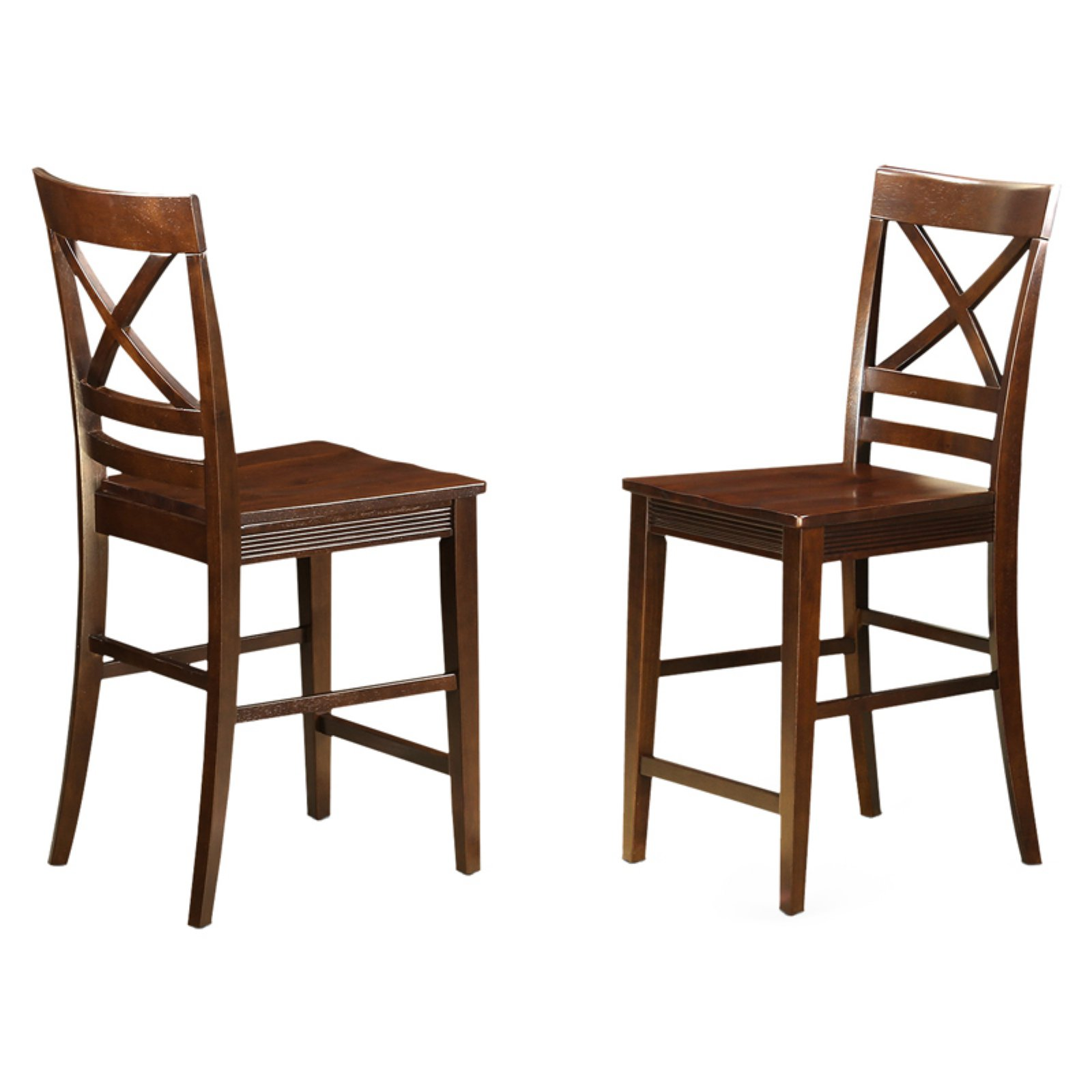 East West Furniture Quincy X-Back Counter Height Dining Chair with Wooden Seat - Set of 2