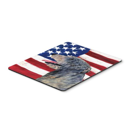 USA American Flag with Irish Wolfhound Mouse Pad, Hot Pad or Trivet