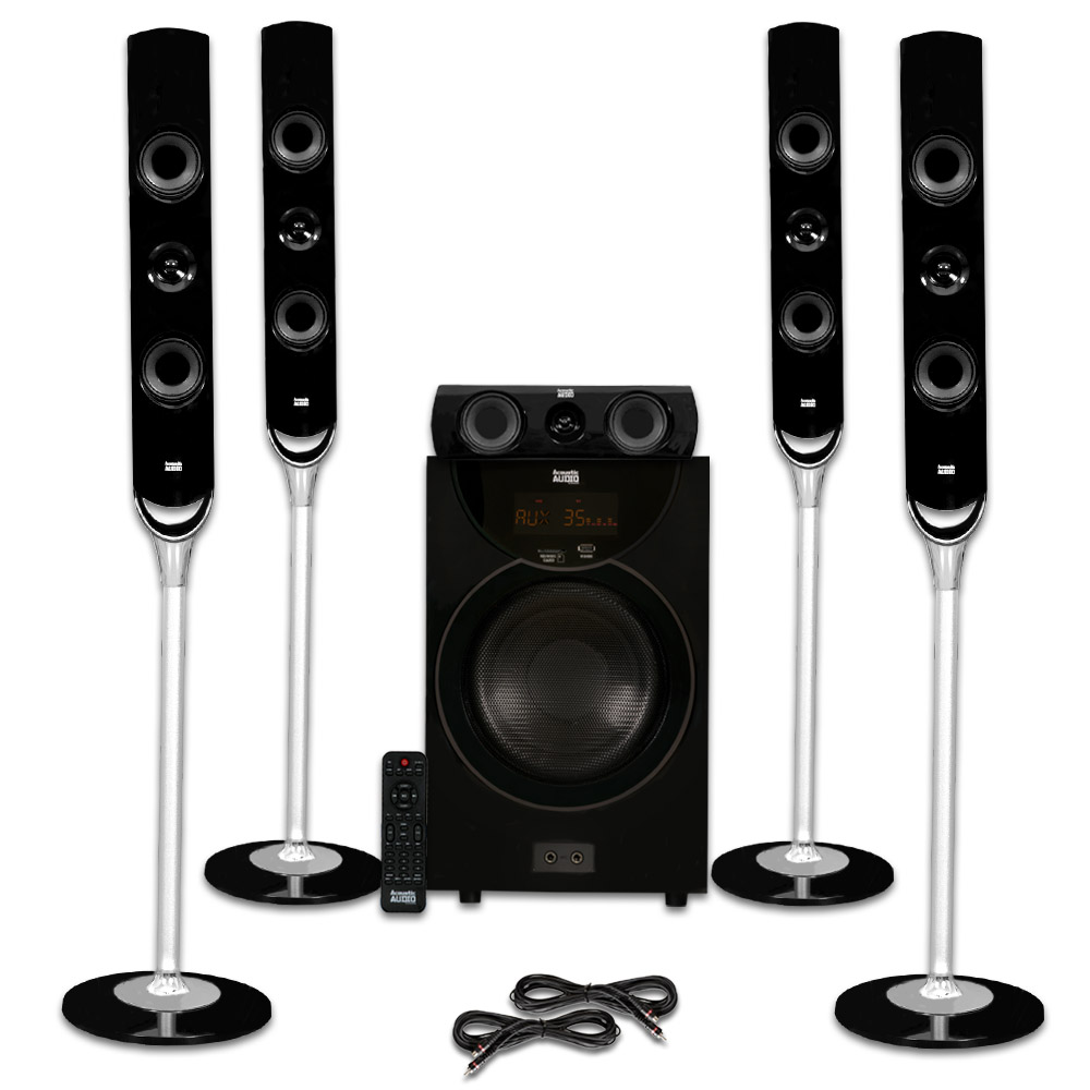 Acoustic Audio AAT2000 Tower 5.1 Home Theater Bluetooth Speaker System and 2 Extension Cables by Acoustic Audio by Goldwood