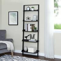 Product Image Mainstays 70 5 Shelf Leaning Ladder Bookcase Espresso
