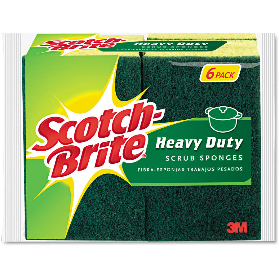 Scotch-Brite Heavy-Duty Green/Yellow Scrub Sponge, 6pk