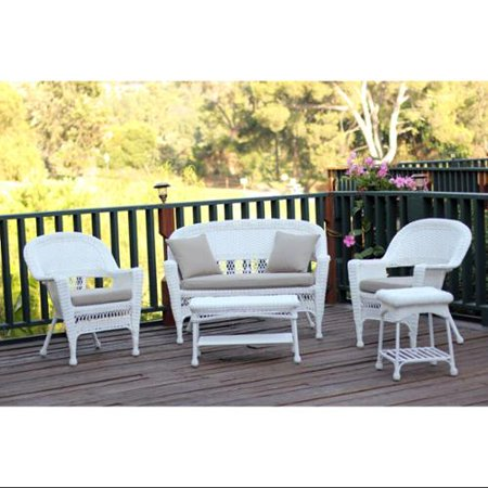 5 Piece Flynn White Wicker Patio Chair Loveseat Table Furniture Set Tan Cushions