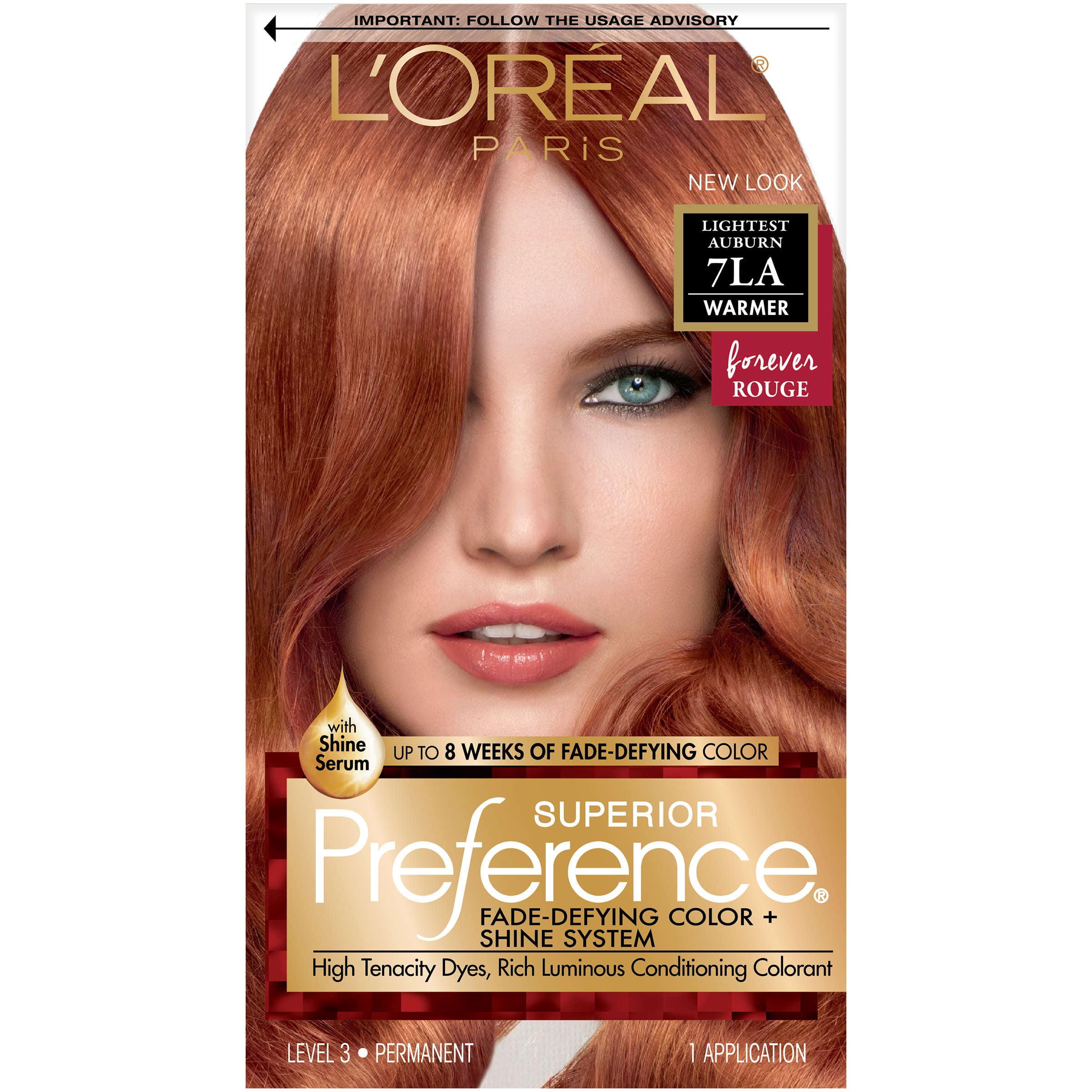 L'Oreal Paris Superior Preference Fade-Defying Color + Shine Hair Color, 7LA Lightest Auburn, 1 Kit