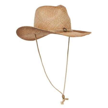 Raffia Western Cowboy Hat - Tea Stain