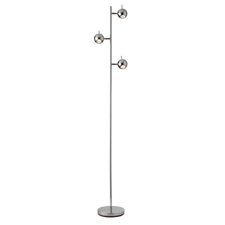 (Floor Lamps 3 Light Bulb Fixture With Polished Chrome Finish Steel Material 9