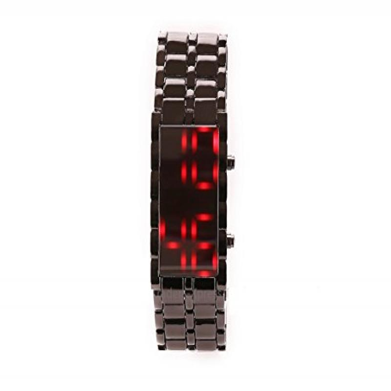 Womens Digital Watches Iron Black Bracelet Red LED Wrist ...