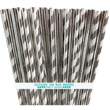 Stripes Tin (Silver and White Solid and Stripe Foil Paper Straws  100 Pack )
